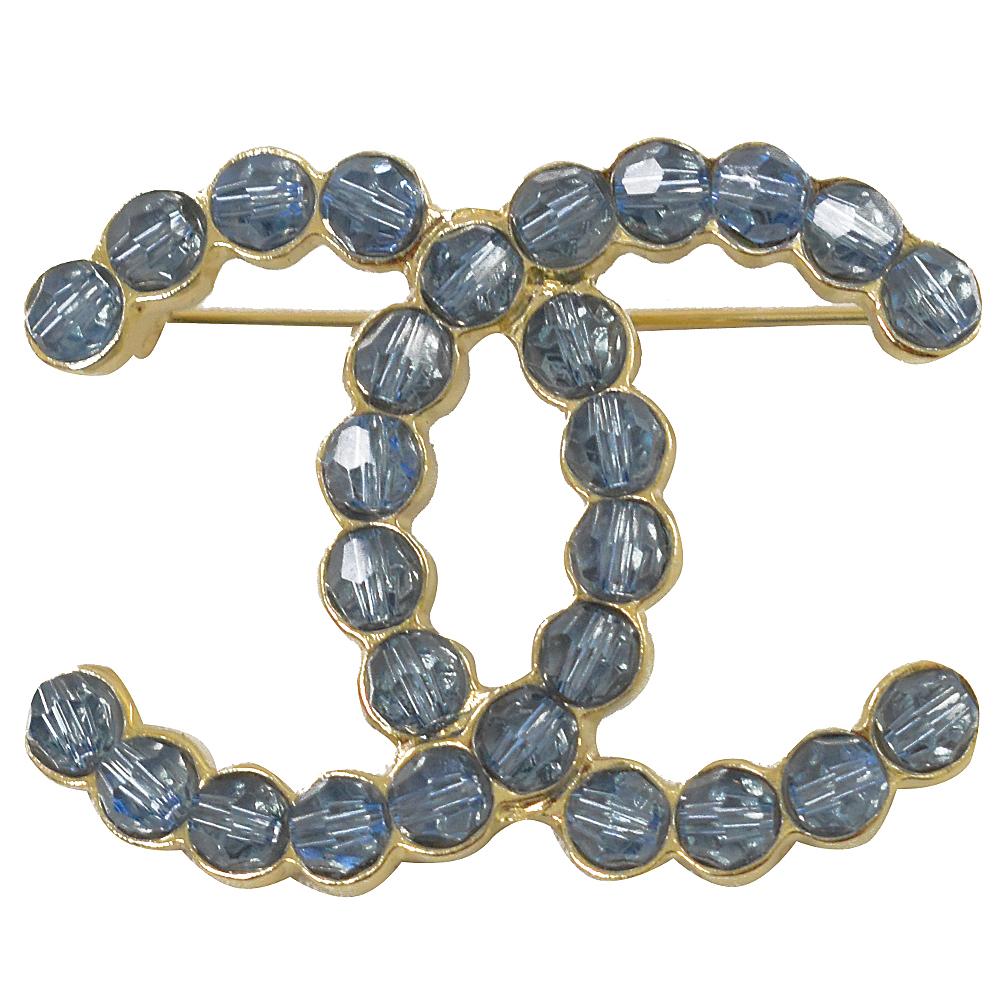 CHANEL 經典大雙C LOGO 藍水晶鑽造型胸針.金