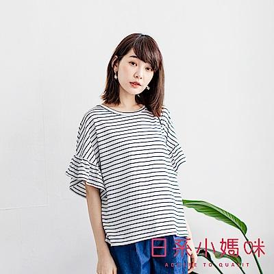 日系小媽咪孕婦裝-韓製孕婦裝~顯瘦配色條紋荷葉袖上衣 (共二色)
