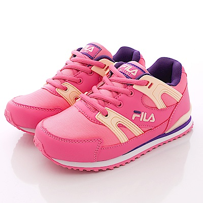 FILA頂級童鞋款 EVA綁帶慢跑款 EI11Q-299桃黃(中童段)0