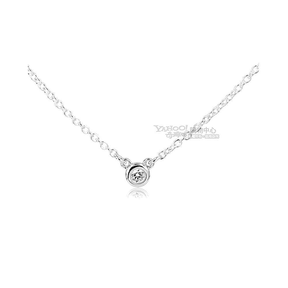 (無卡分期12期)Tiffany&Co. 0.03克拉圓形鑽石純銀項鍊