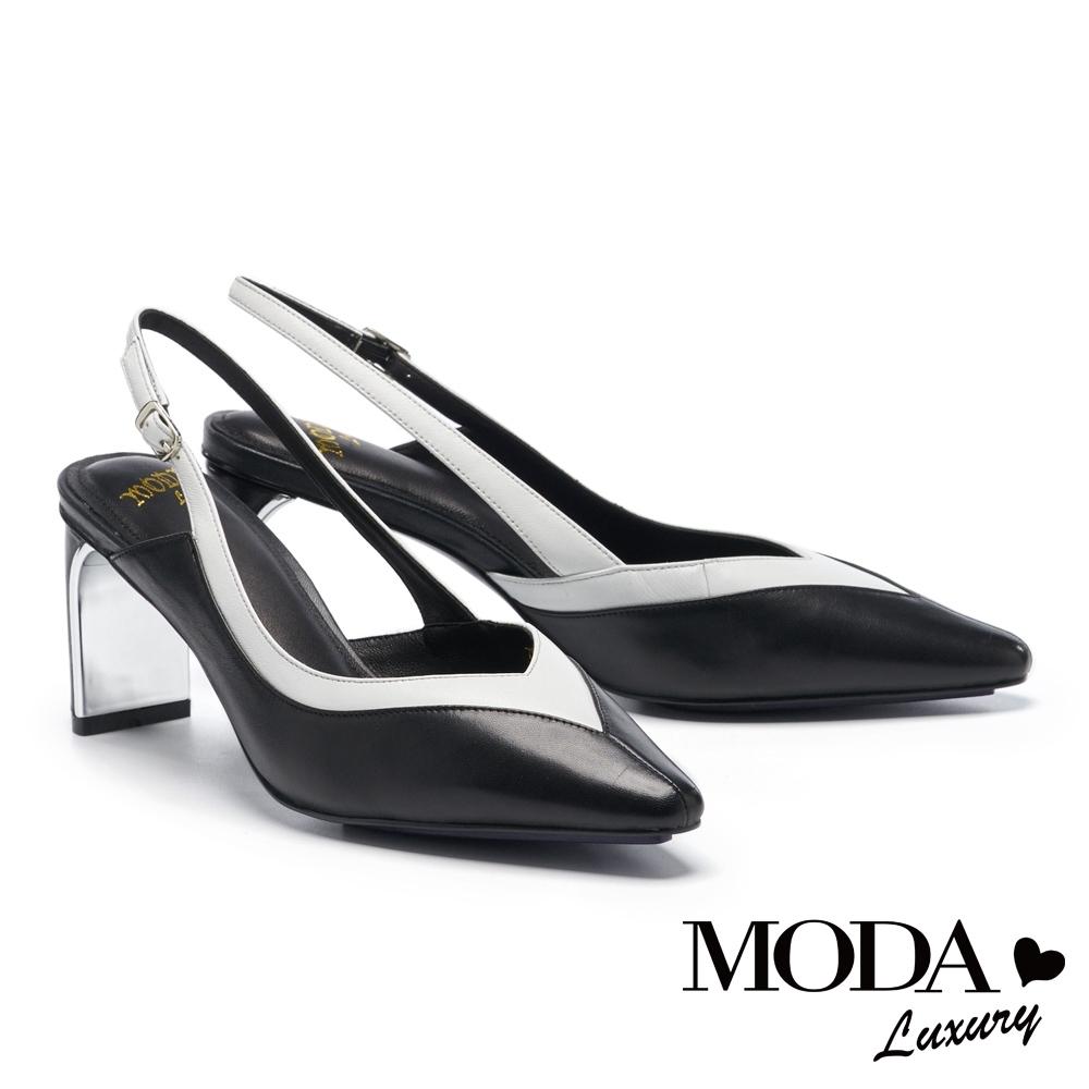 高跟鞋 MODA Luxury 摩登雙色流線型羊皮小方頭高跟鞋-黑