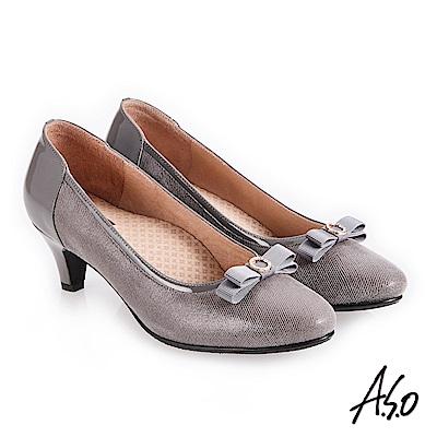 A.S.O 義式簡約 鏡面皮感蝴蝶裝飾高跟鞋 灰