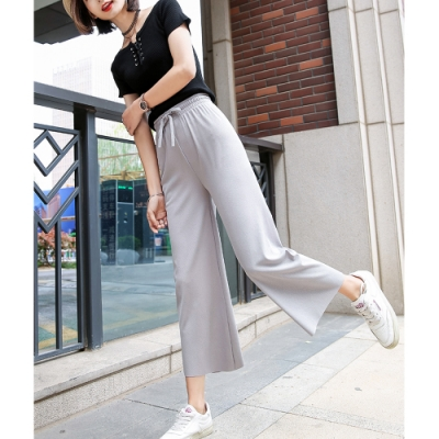 2F韓衣-簡約素色百搭高腰針織寬褲-3色-(L-XL)