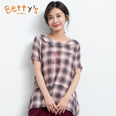 betty's貝蒂思 格紋翻領公仔繡線上衣(粉色)
