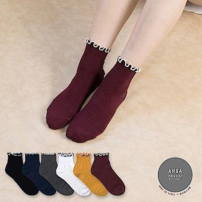 阿華有事嗎 韓國襪子 純色QQ邊中短筒襪 韓妞必備長襪 正韓百搭純棉襪