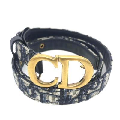 Dior Oblique 經典緹花帆布金色釦頭皮帶