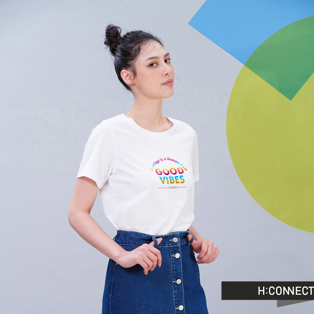 H:CONNECT 韓國品牌 女裝 - Good vibes正能量T-shirt-白色