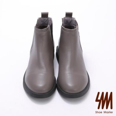 SM-微尖頭側面小V口低跟短靴