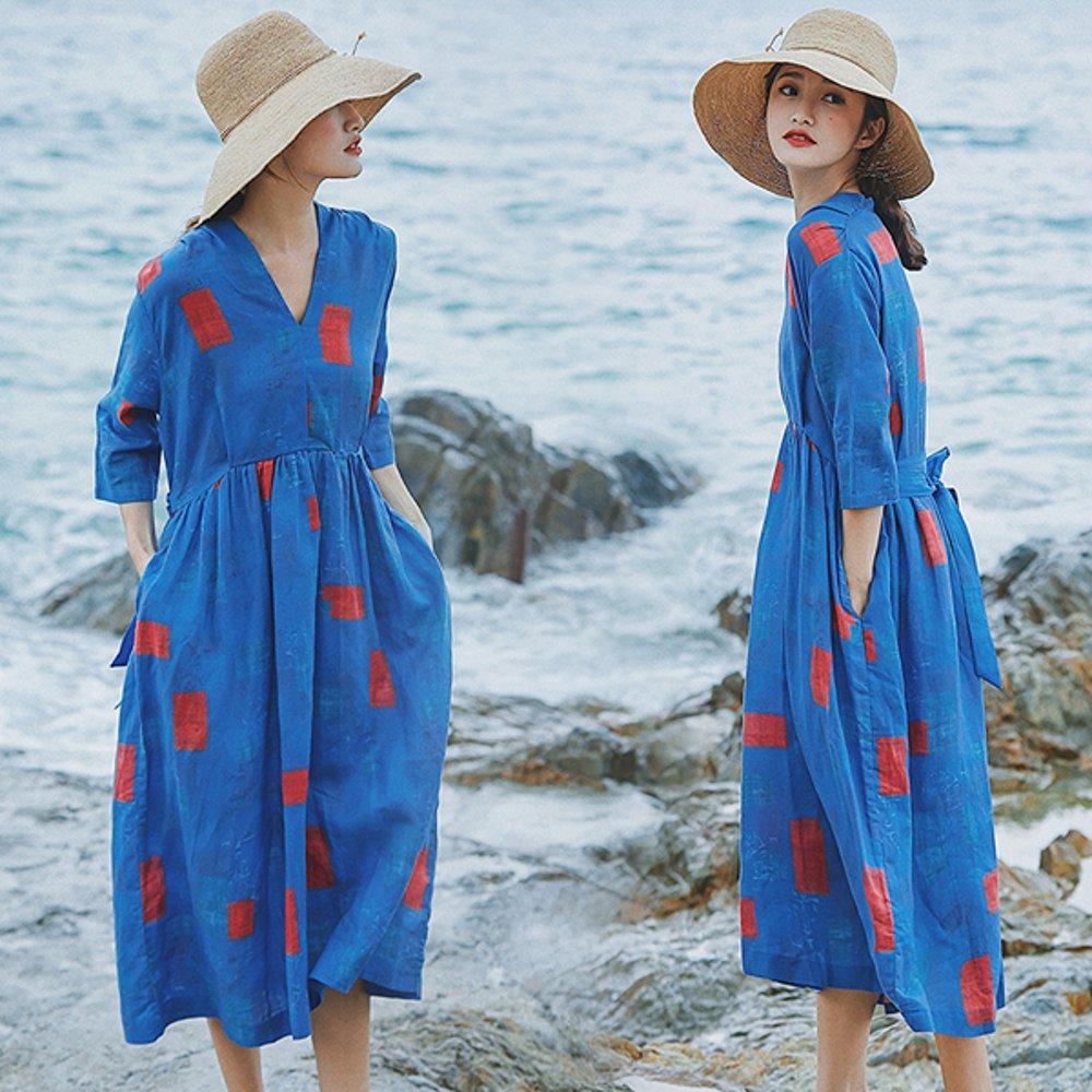 優雅V領洗水亞麻洋裝文藝棉麻寬鬆高腰長裙-設計所在