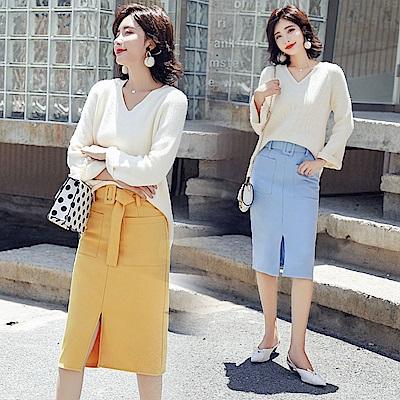 V領針織上衣搭純色開衩窄裙套裝S~XL(共二色)-SZ