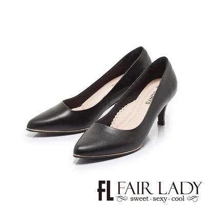 FAIR LADY 7DAYS七日色階完美斜邊尖頭高跟鞋 經典黑