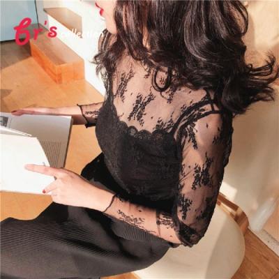 【brs】網紗蕾絲優雅長袖內外搭上衣-5色