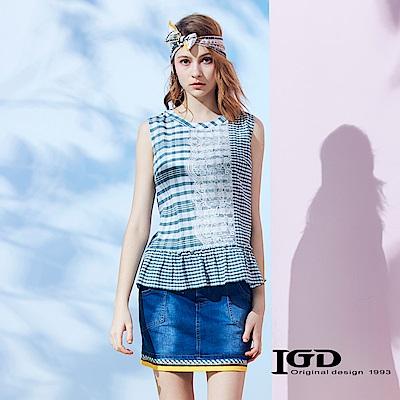 IGD英格麗 粗細條紋蕾絲荷葉背心上衣-綠