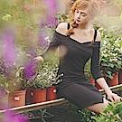 AIR SPACE 不規則裙擺挖肩坑條包臀洋裝(黑)