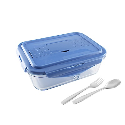 美國Winox 安玻分隔玻璃保鮮盒長形3格1000ML附不鏽鋼餐具