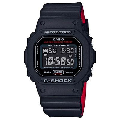 G-SHOCK經典復刻紅黑騎士絕對強悍精神概念休閒錶DW-5600HR-1 48.9mm