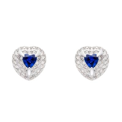 SWAROVSKI施華洛世奇ONE 藍水晶心型穿孔耳環