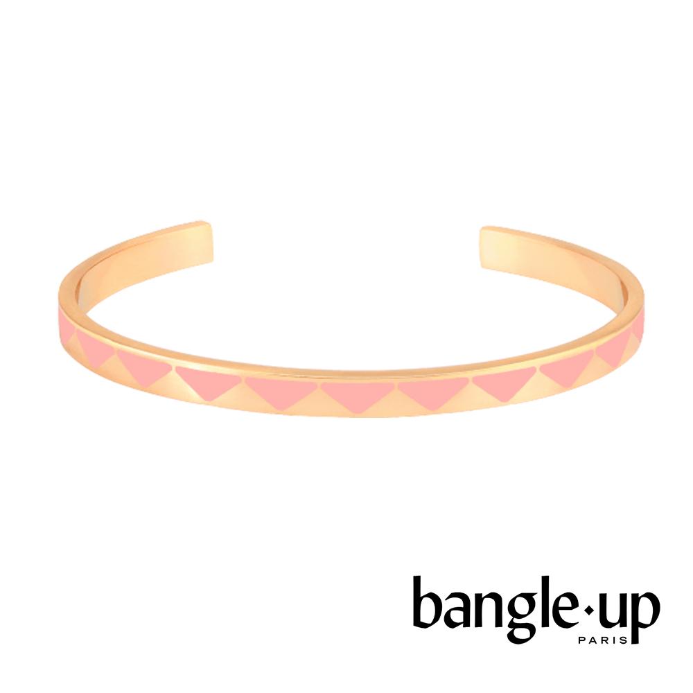 BANGLE UP 時尚印花琺瑯鍍金開口手環 -淺粉