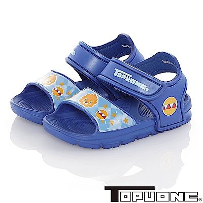 TOPUONE 極輕量軟Q彈性運動休閒涼鞋童鞋-藍