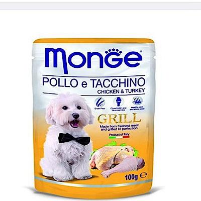 Monge Grill炙燒無穀主食肉塊鮮食包(狗用) 100g - 雞肉+火雞肉X24包入