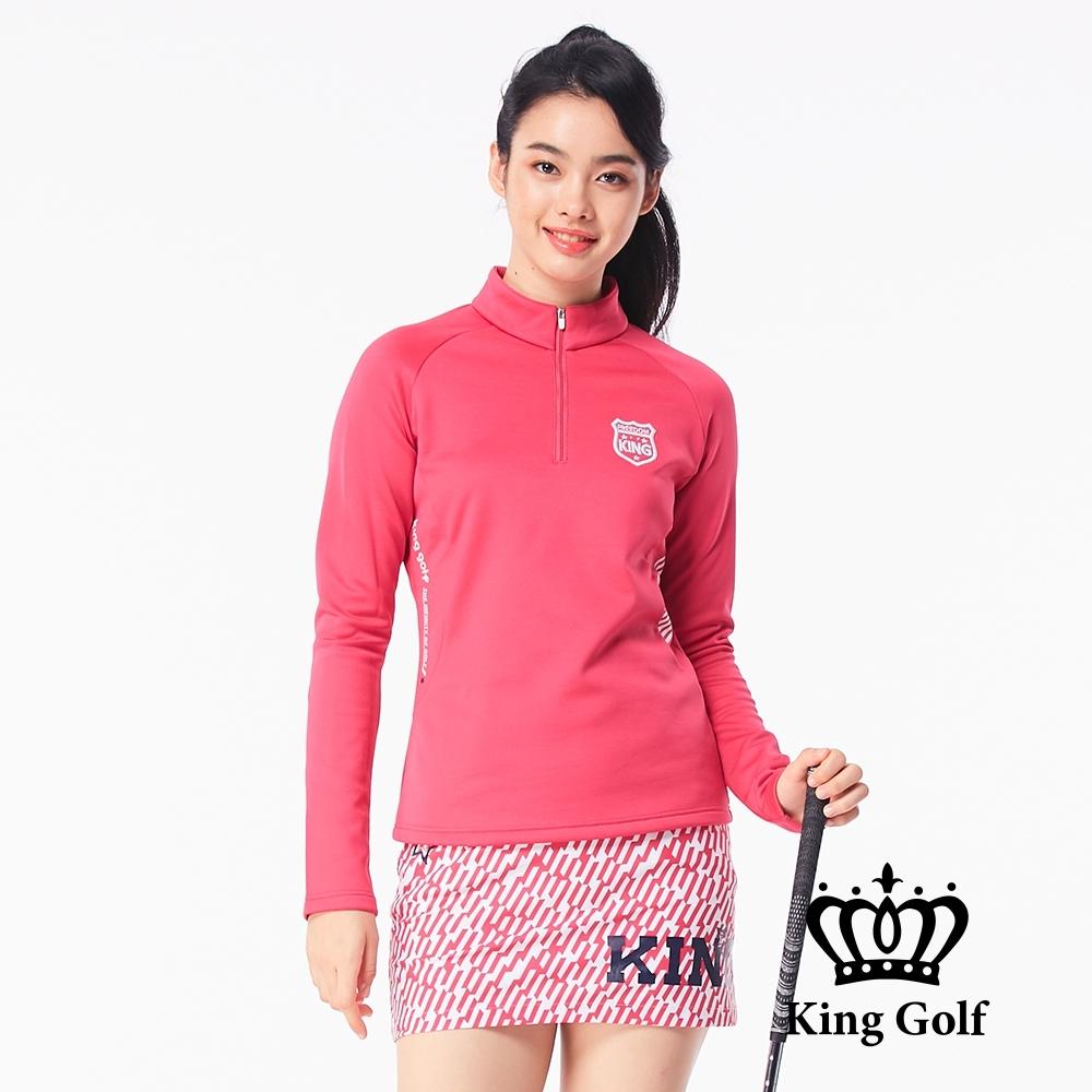【KING GOLF】素面拼接條紋立領拉鍊長袖POLO衫-桃紅
