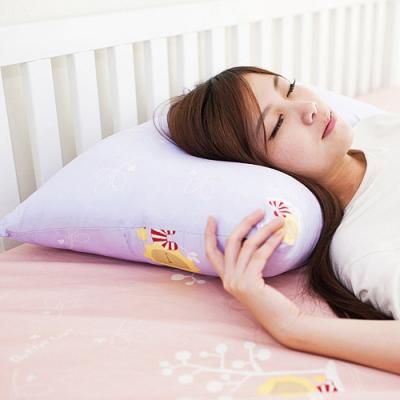 奶油獅-MIT正版授權100%精梳純棉珍珠球棉枕(中)-幻紫