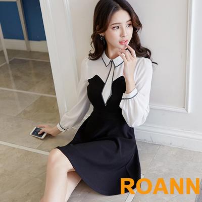 翻領撞色拼接燈籠袖洋裝 (黑色)-ROANN