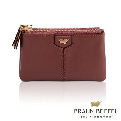 BRAUN BUFFEL - 蕾絲莉系列雙層零錢包 - 豆沙紅