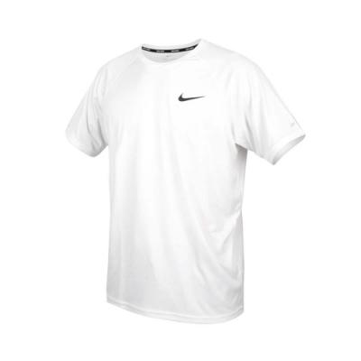 NIKE SWIM 男短袖防曬T恤-DRI-FIT 抗UV 海灘 海邊 NESSA586-100 白黑
