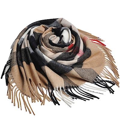 BURBERRY BANDANA 經典格紋100%喀什米爾造型三角圍巾/披肩(駝色格)