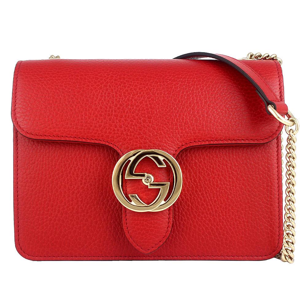 GUCCI 紅色真皮雙G標誌押扣金屬鍊帶斜背包GUCCI
