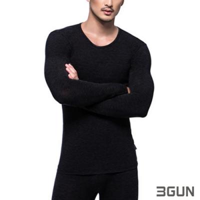3GUN 三槍牌 型男長袖圓領勁熱發熱衣 黑色2件組
