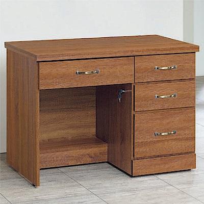 綠活居 海朵時尚3.2尺木紋四抽書桌/電腦桌-96x58x76cm免組
