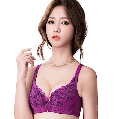 思薇爾 撩波葉之舞系列F-G罩蕾絲包覆大罩內衣(緋紫色)-動態show