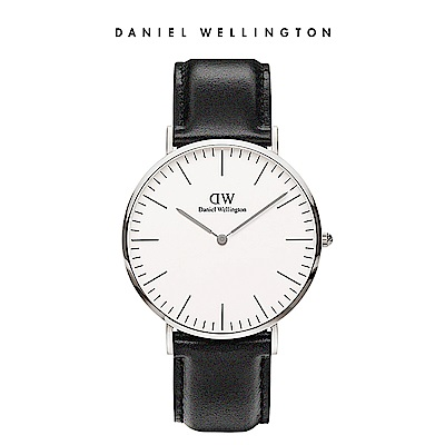 DW 手錶 官方旗艦店 40mm銀框 Classic 爵士黑真皮皮革錶