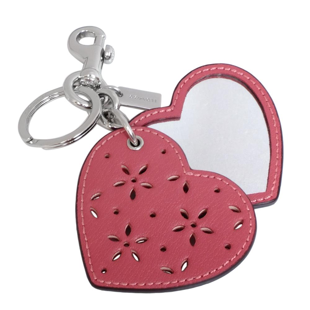 COACH梅紅鏤刻雕花愛心隨身鏡雙扣環鑰匙圈