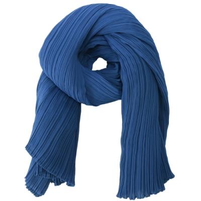 ISSEY MIYAKE 三宅一生 PLEATS PLEASE 素面圍巾/罩衫(灰藍)