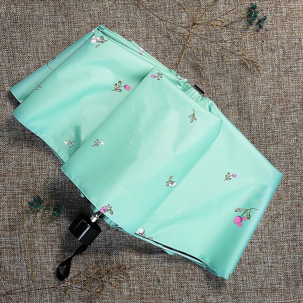 【TDN】鈴蘭花UL超輕易開收降溫三折傘黑膠晴雨傘B7617A-蒂芬綠