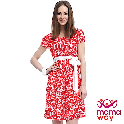 Mamaway 印花綁帶孕婦.哺乳洋裝(共三色)
