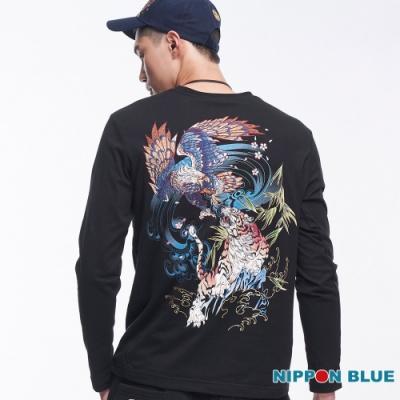 日本藍 BLUE WAY-進口金標-日本藍虎鷹鬥長TEE(黑)