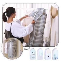 JoyNa【小款】衣服防塵罩袋 掛式衣櫃透明衣物整理收納袋(3入組)