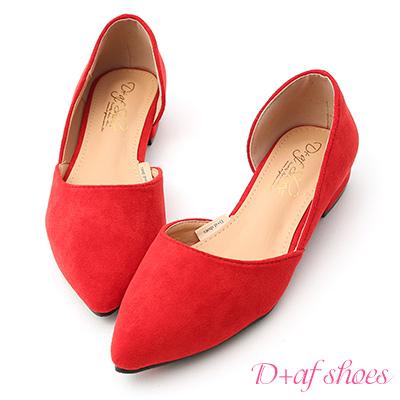 D+AF 典雅品味.素面絨料側挖空尖頭鞋*紅
