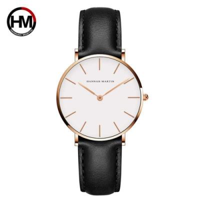 HANNAH MARTIN 金色刻度設計感腕錶(HM-CB36-FH)-白面黑皮帶x36mm