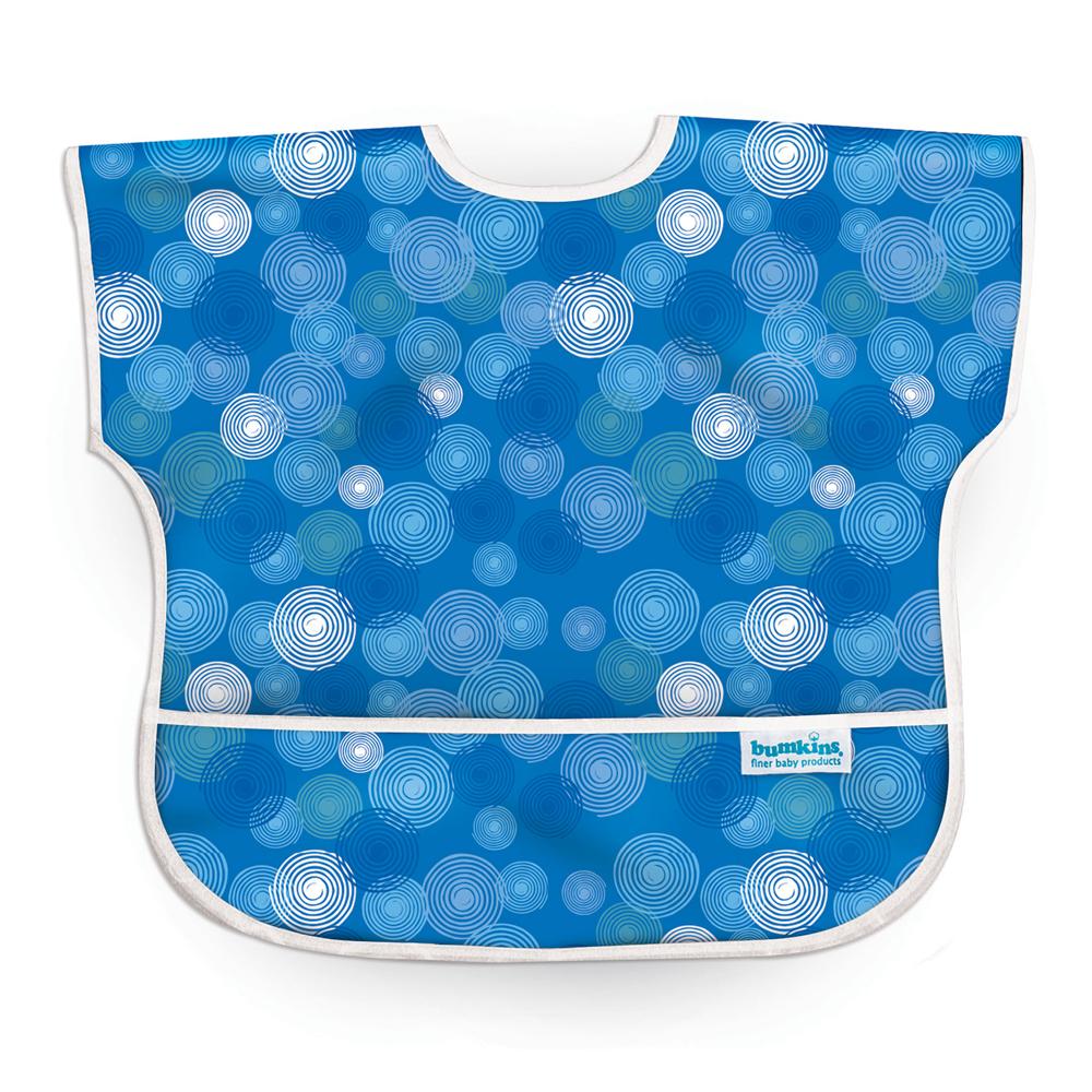 美國Bumkins兒童短袖防水圍兜-藍波紋BKU-530