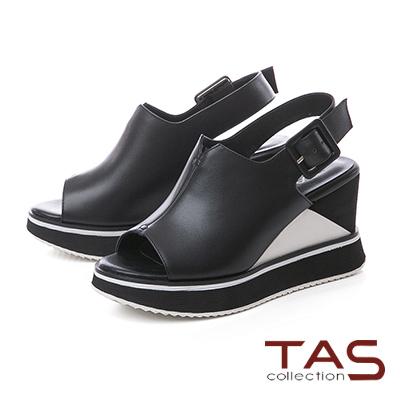 TAS素面寬版V口配色厚底楔型涼鞋-個性黑
