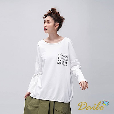 Dailo INLook 落肩字母口袋素色棉質上衣(白)