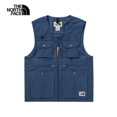 The North Face北面男款藍色防潑水多口袋工裝背心 4UBVWC4