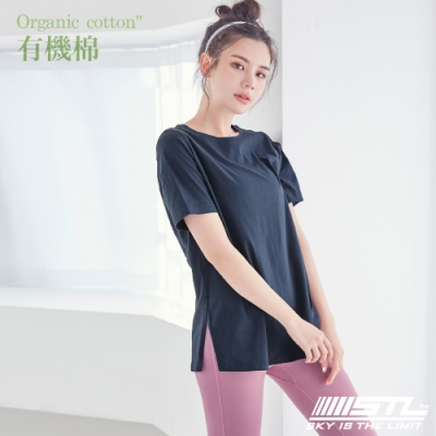 STL Yoga 韓國 Organic有機棉 Overfit SS 長版短袖寬版T恤 墨水藍InkBlue