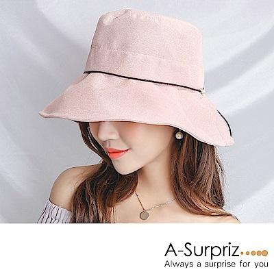 A-Surpriz 素雅圓木釦綁仿皮繩遮陽布帽(橘粉)