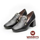 WONDERS-小方頭素面鉚釘跟鞋 黑